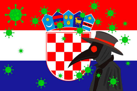 Black plague doctor surrounded by viruses with copy space with CROATIA flag.
