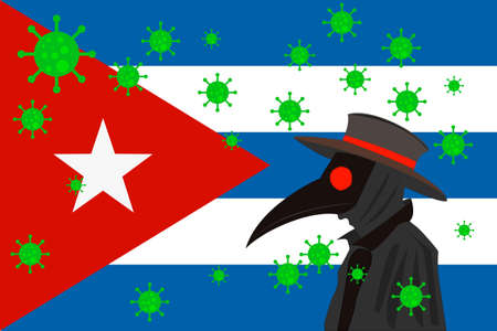 Black plague doctor surrounded by viruses with copy space with CUBA flag.