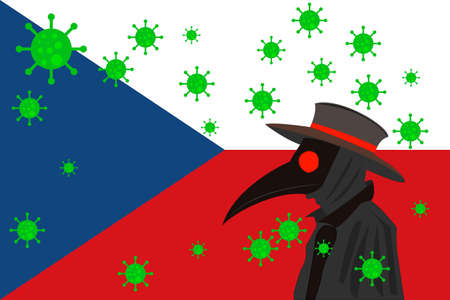 Black plague doctor surrounded by viruses with copy space with CZECH REPUBLIC flag. 向量圖像