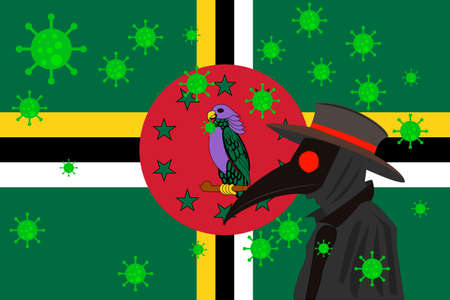 Black plague doctor surrounded by viruses with copy space with DOMINICA flag.