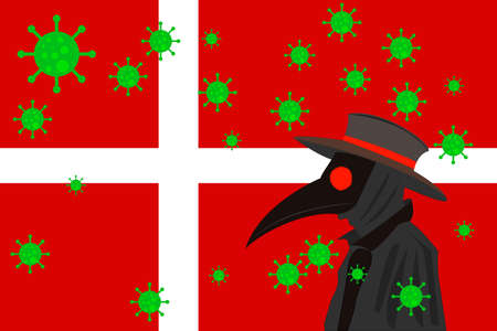 Black plague doctor surrounded by viruses with copy space with DENMARK flag.