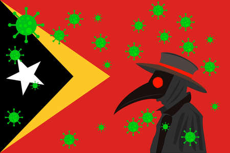 Black plague doctor surrounded by viruses with copy space with EAST TIMOR flag.