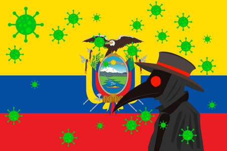 Black plague doctor surrounded by viruses with copy space with ECUADOR flag.