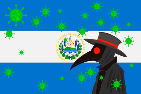 Black plague doctor surrounded by viruses with copy space with EL SALVADOR flag.
