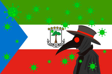 Black plague doctor surrounded by viruses with copy space with EQUATORIAL GUINEA flag. 向量圖像