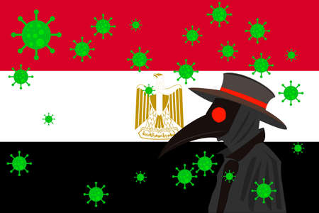 Black plague doctor surrounded by viruses with copy space with EGYPT flag.