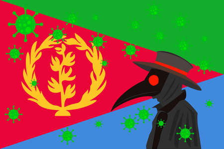 Black plague doctor surrounded by viruses with copy space with ERITREA flag. 向量圖像