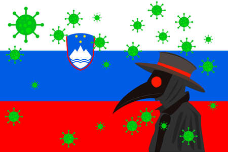 Black plague doctor surrounded by viruses with copy space with SLOVENIA flag.