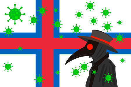 Black plague doctor surrounded by viruses with copy space with FAROE ISLANDS flag.
