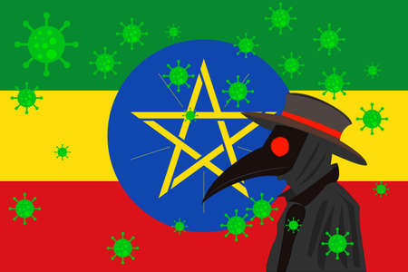 Black plague doctor surrounded by viruses with copy space with ETHIOPIA flag.