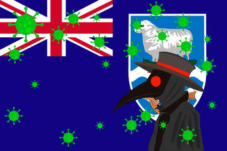 Black plague doctor surrounded by viruses with copy space with FALKLAND ISLANDS flag.