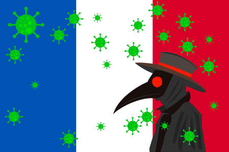 Black plague doctor surrounded by viruses with copy space with FRANCE flag.