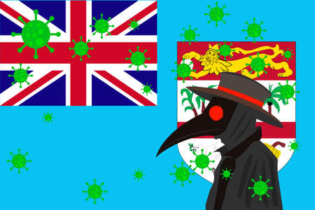 Black plague doctor surrounded by viruses with copy space with FIJI flag.