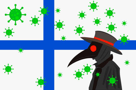 Black plague doctor surrounded by viruses with copy space with FINLAND flag.