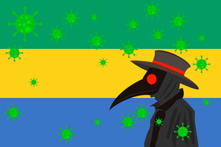 Black plague doctor surrounded by viruses with copy space with GABON flag.