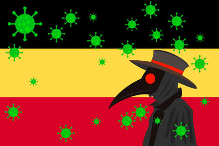 Black plague doctor surrounded by viruses with copy space with GERMANY flag. 向量圖像