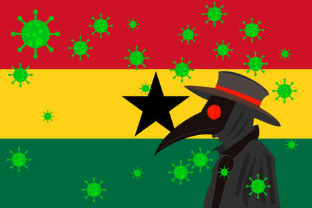 Black plague doctor surrounded by viruses with copy space with GHANA flag. 向量圖像