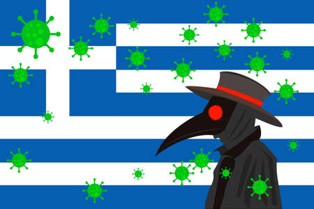 Black plague doctor surrounded by viruses with copy space with GREECE flag. 向量圖像