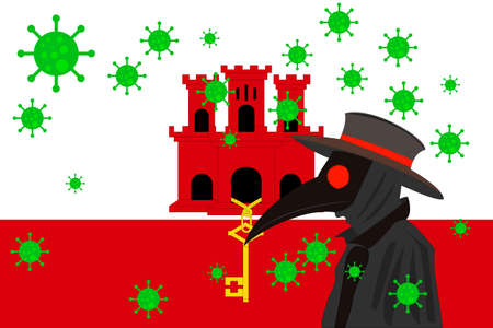Black plague doctor surrounded by viruses with copy space with GIBRALTAR flag. 向量圖像