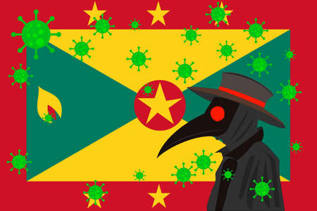Black plague doctor surrounded by viruses with copy space with GRENADA flag.
