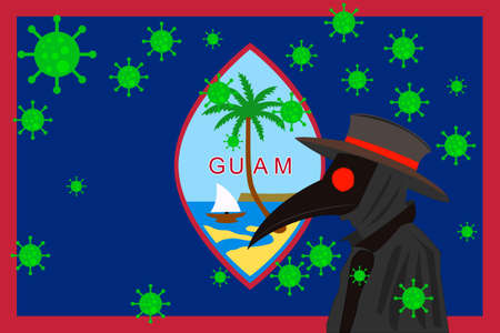 Black plague doctor surrounded by viruses with copy space with GUAM flag. 向量圖像