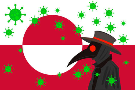 Black plague doctor surrounded by viruses with copy space with GREENLAND flag. 向量圖像
