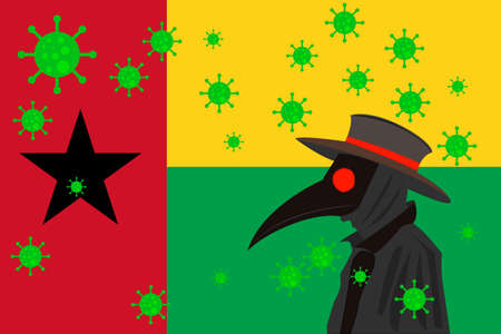 Black plague doctor surrounded by viruses with copy space with GUINEA BISSAU flag.