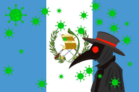 Black plague doctor surrounded by viruses with copy space with GUATEMALA flag. 向量圖像