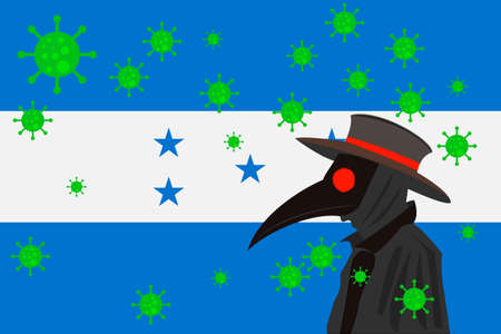 Black plague doctor surrounded by viruses with copy space with HONDURAS flag.