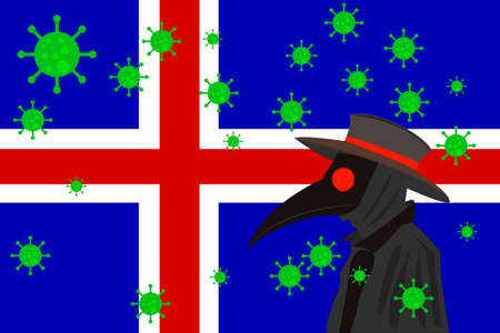 Black plague doctor surrounded by viruses with copy space with ICELAND flag.