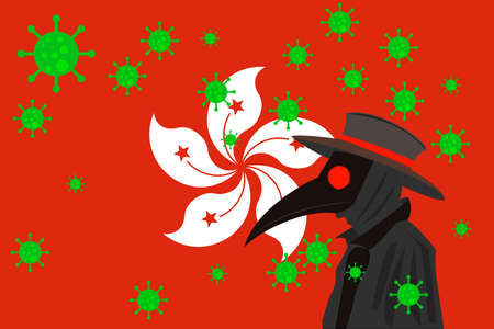 Black plague doctor surrounded by viruses with copy space with HONG KONG flag. 向量圖像
