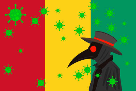 Black plague doctor surrounded by viruses with copy space with GUINEA flag. 向量圖像