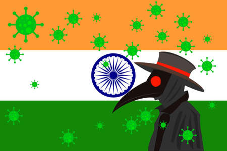 Black plague doctor surrounded by viruses with copy space with INDIA flag. 向量圖像