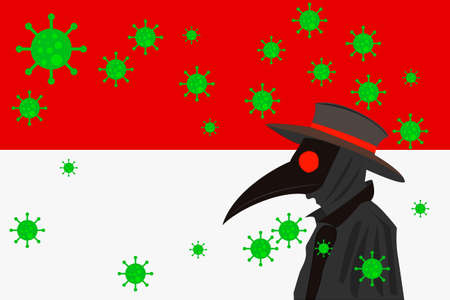 Black plague doctor surrounded by viruses with copy space with INDONESIA flag.