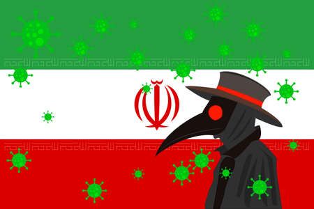 Black plague doctor surrounded by viruses with copy space with IRAN flag. 向量圖像