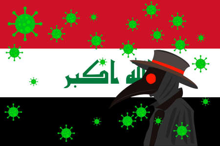 Black plague doctor surrounded by viruses with copy space with IRAQ flag.