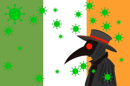 Black plague doctor surrounded by viruses with copy space with IRELAND flag.