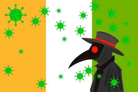 Black plague doctor surrounded by viruses with copy space with IVORY COAST flag.