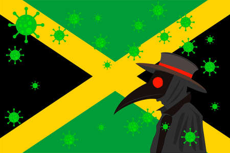 Black plague doctor surrounded by viruses with copy space with JAMAICA flag. 向量圖像
