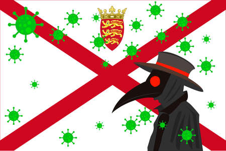 Black plague doctor surrounded by viruses with copy space with JERSEY flag.