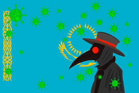 Black plague doctor surrounded by viruses with copy space with KASAKHSTAN flag.