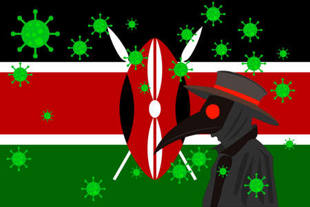 Black plague doctor surrounded by viruses with copy space with KENYA flag.