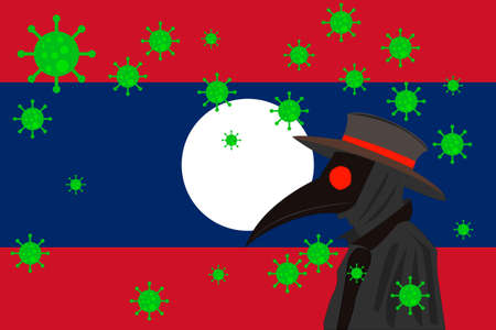 Black plague doctor surrounded by viruses with copy space with LAOS flag.