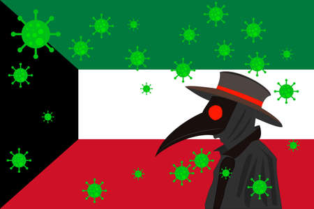 Black plague doctor surrounded by viruses with copy space with KUWAIT flag. 向量圖像