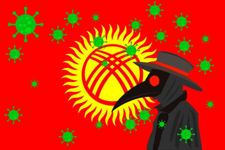 Black plague doctor surrounded by viruses with copy space with KYRGYZSTAN flag.