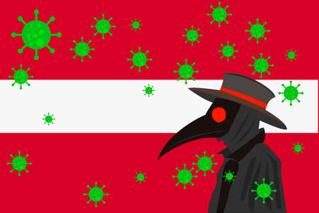 Black plague doctor surrounded by viruses with copy space with LATVIA flag. 向量圖像