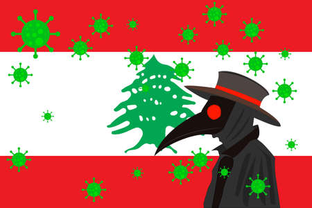 Black plague doctor surrounded by viruses with copy space with LEBANON flag.