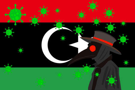 Black plague doctor surrounded by viruses with copy space with LIBYA flag. 向量圖像