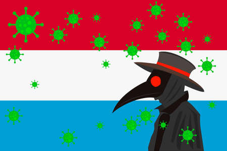 Black plague doctor surrounded by viruses with copy space with LUXEMBOURG flag.