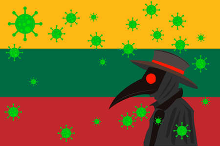 Black plague doctor surrounded by viruses with copy space with LITUANIA flag.